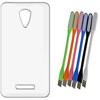 Soft Transparent Back Cover for Reliance Jio LYF Flame 3 with Flexible USB LED Lamp