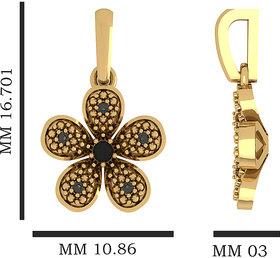 Flower Gold  Pendant With Black Diamond