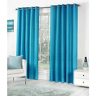 Living Creation Royal Pack of 1 Plain Aqua Blue Door Curtain