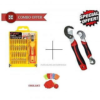 Combo of Snap N Grip with Jackly 32 In 1 Screwdriver Set and Free Gift Hand Glove