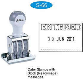 Rubber Stamp ENTERED with Date and Signature Place Shiny S-66