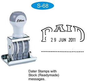 Rubber Stamp PAID with Date Readymade Message Stock stamp Shiny S-68