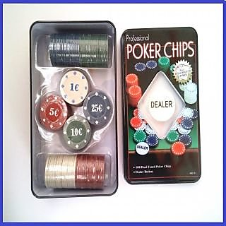 100 Pcs Professional Poker Chips Set Casino in Metal Box pocker chips gift set