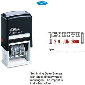 Self Inking Rubber Stamp RECEIVED with Date Signature space Shiny S-402