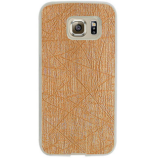 Casotec Retro Style Soft TPU Leather Back Case Cover for Samsung Galaxy S6 edge - Gold