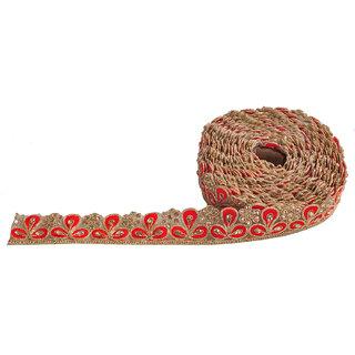 shresth creation red leaf stone work saree lace,fabrics,borders (Unstitched)