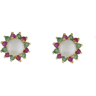 Nisa PearlsCZ And Pink Color Stones Splendid Pair  Of Stud Earrings for Women