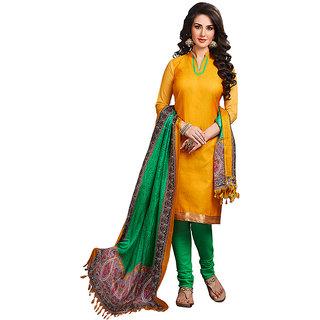 Varanga Yellow Printed Cotton Dress Material With Matching Dupatta KF-2RZ3006