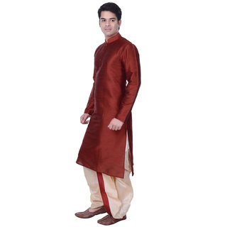 Sanwara Mens Maroon Beige Regular Fit Dhoti Kurta Set