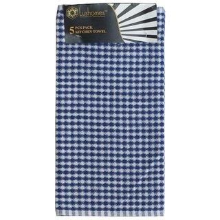 Lushomes Blue Mini Honey Comb Checks Kitchen Towel (Pack of 5)