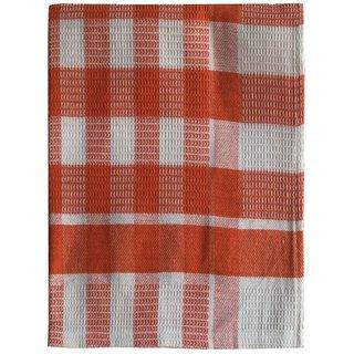 Lushomes Orange Drill Checks Honeycomb Tea Towel (Single pc)