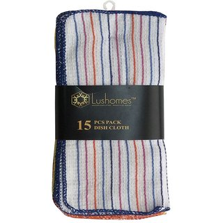Lushomes Striped Multi Colored Dishcloths (Pack of 15)