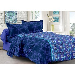 Valtellina Blue  Floral Design Eco-Friendly Cotton Double Bedsheet with 2 CONTRAST Pillow Cover-Best TC-175
