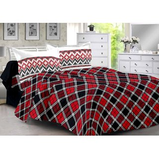 Valtellina Red  Checkered Design Skin Friendly Double Bedsheet with 2 CONTRAST Pillow Cover-Best TC-175