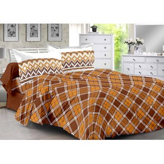 Valtellina Brown  Checkered Design Super Soft Cotton Double Bedsheet with 2 CONTRAST Pillow Cover-Best TC-175