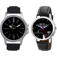 Jack Klein Combo Of Leather Strap Round Dial Elegant Analog Wrist Watches For Men - 96594258