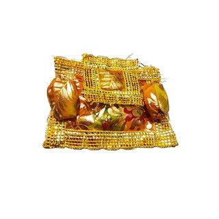 Beautifully Handmade Yellow With Golden Laddu Gopal Aasan