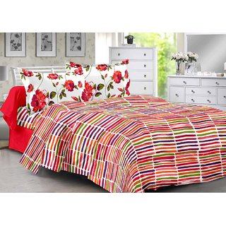 Valtellina Orange  Stripes Design Color Fastness Cotton Double Bedsheet with 2 CONTRAST Pillow Cover-Best TC-175