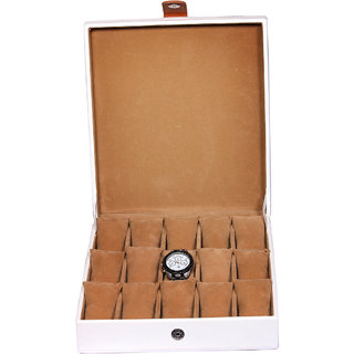 Leather World White PU Leather Watch Box for 15 Watches