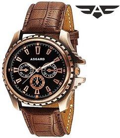 Asgard (CPR-98) Round Dial Brown Leather Strap Quartz Watch for Men