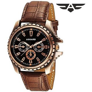 Asgard (CPR-98) Round Dial Brown Leather Strap Quartz Watch for Men