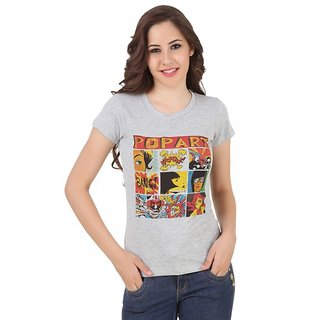 Spunk Grey Cotton Round Neck Half Sleeve Printed Tee For Women