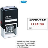 Self Inking Rubber Stamp APPROVED With Date and Signature space Shiny S-404