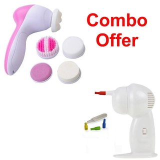 Deemark 5 in 1 Beauty massager with Ear cleaner Combo pack