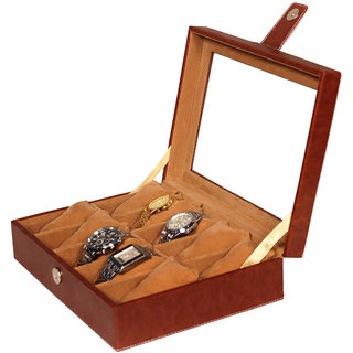 Leather World Classic Beige PU Leather Watch Box for 10 Watches
