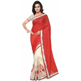 Meia Red Net Embroidered Saree With Blouse