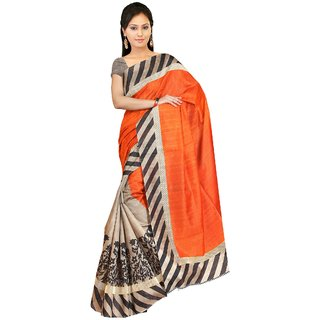 MUTA Printed Orange Colored Art Silk Saree