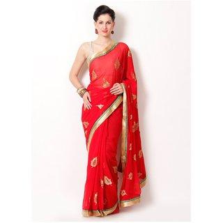 MUTA Printed Red Colored Chiffon Saree