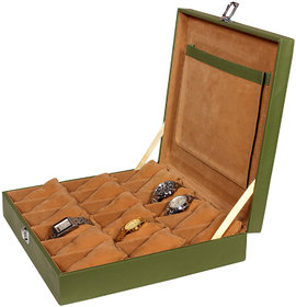 Leather World Classic Green PU Leather Watch Box for 18 Watches