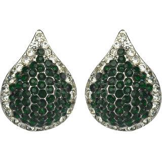Glitters    Green Stone American Diamond  Fashion Earring  Est017Gr