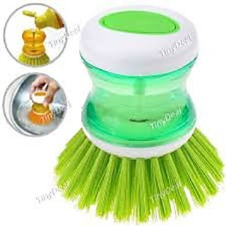 Plastic Cleaning Brush With Liquid Soap Dispenser, Self Dispensing Cleaning Brush