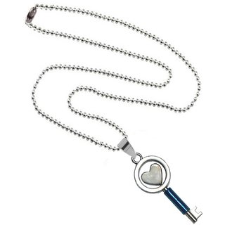 Men Style Heart Key And Ring  Blue  Stainless Steel Key Pendent For Men And Women