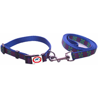 PET CLUB51 HIGH QUALITY PRINTED COLLAR AND LEASH-LARGE-BLUE PRINTED-25MM