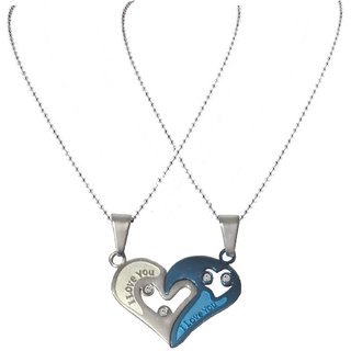 cbef23b8e3 Men Style Couples His And Her I Love You Blue And Silver Titanium Stainless  Steel Heart Necklace Set Pendent For Men A