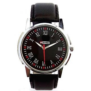 Lotto Black Dial Black Leather Strap Analog Wrist Watch