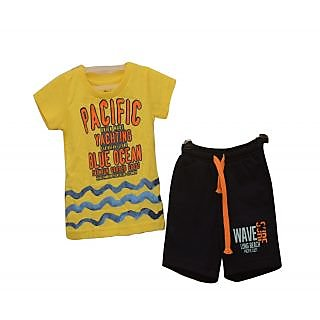Titrit Yellow and Black T-Shirt and Shorts Set For Boys