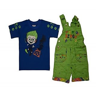 Titrit Blue and Green Dungaree Set For Boys