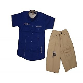 Titrit Blue and Beige T-Shirt and Shorts Set For Boys