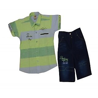 Titrit White and Grey T-Shirt and Shorts Set For Boys