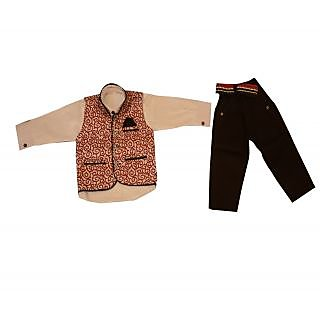 Titrit Beige Shirt, Black Pant and Jacket Three piece Set for Boys