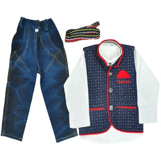 Titrit White Shirt, Denim Blue Jeans and Jacket Three piece Set for Boys