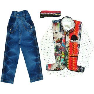 Titrit White Shirt, Denim Pant and Jacket Three piece Set for Boys
