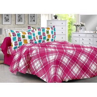 Valtellina Pink  Checkered Design Eco-Friendly Cotton Double Bedsheet with 2 CONTRAST Pillow Cover-Best TC-175