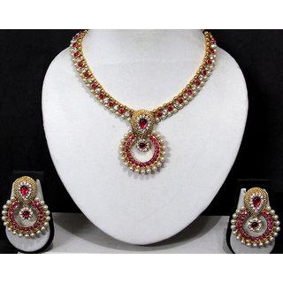 Pink Stone Polki Pendant Necklace Set
