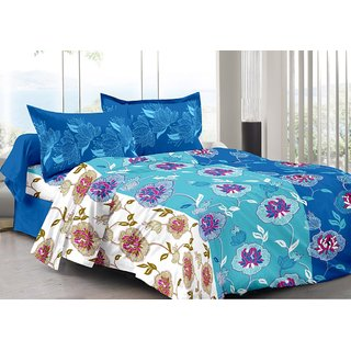 Valtellina Blue  Floral Design Skin Friendly Double Bedsheet with 2 CONTRAST Pillow Cover-Best TC-175