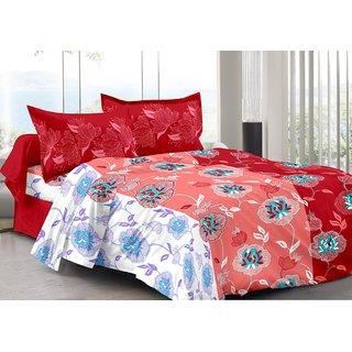 Valtellina Red  Floral Design Super Soft Cotton Double Bedsheet with 2 CONTRAST Pillow Cover-Best TC-175